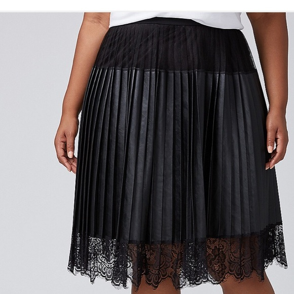 0062af0cc50 Pleated Faux Leather Skirt w  Lace Trim